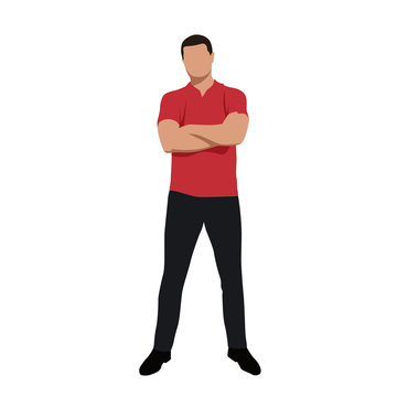 Standing young man in red polo shirt with folded arms, front vie