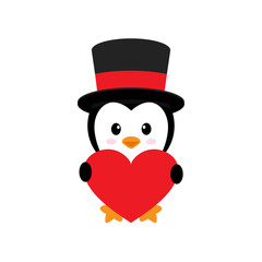 cute penguin and heart