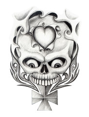 Art design skull head mix heart and graphic tribal tattoo hand pencil drawing on paper.
