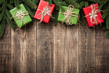 Christmas and New Year background with gift boxes