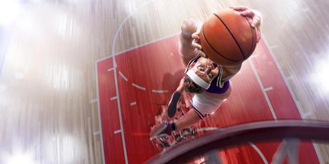 Fat non professional basketball player in action. Fun. Broken ba