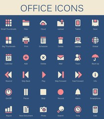 Back office services and documents tools icons. Modern vector pi