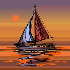 Sunset Sea yacht floating on the water surface.