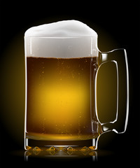 Vector beer mug on dark background. EPS10