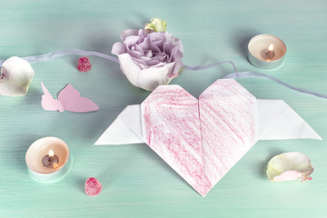 Valentine card with rose, origami heart and butterflies
