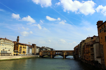 View of the Ponte Vecchio (Old Bridge) in Florence, Italy
