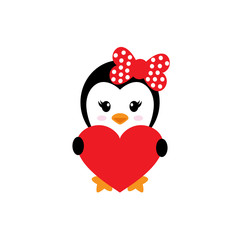 cute penguin girl and heart