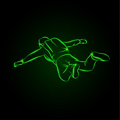 Skydiver jumps with open arms. Neon vector illustration paratrooper with a backpack on his shoulders.