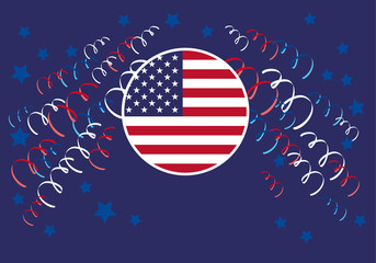 Holiday design with American flag. America Independence Day. Festive vector illustration