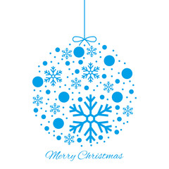 Merry Christmas ball blue ornament