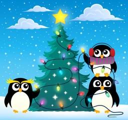 Penguins around Christmas tree theme 2