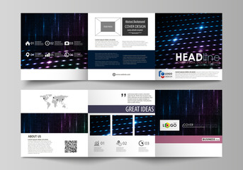 Business templates, tri fold square brochures. Leaflet cover, vector layout. Abstract colorful neon dots, dotted technology background. Glowing particles, led light pattern, futuristic digital design.