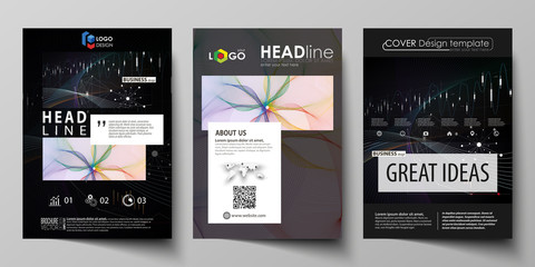 Business templates for brochure, flyer, annual report. Cover design template, vector layout in A4 size. Colorful abstract infographic background with lines, symbols, diagrams and other elements.