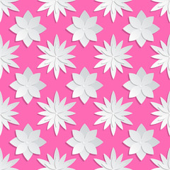 Wall Mural - Paper cut flowers background. Origami vector floral pattern
