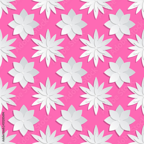 Wall mural Paper cut flowers background. Origami vector floral pattern