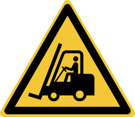 ISO 7010 W014 Warning; Forklift trucks and other industrial vehicles