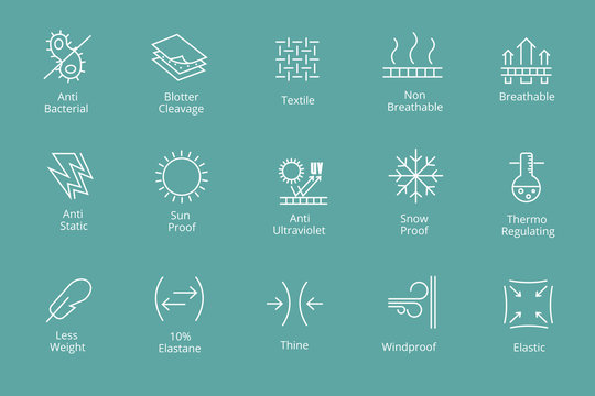 Garments and fabrics properties icons like waterproofing  antibacterial, snow  sun protection