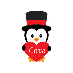 cute penguin with heart and text