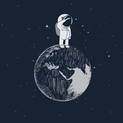 Cartoon little astronaut standing on the Earth