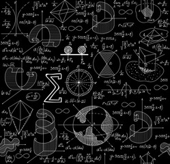 Math educational vector seamless pattern with formulas, calculations, and equations, handwritten on grid copybook paper