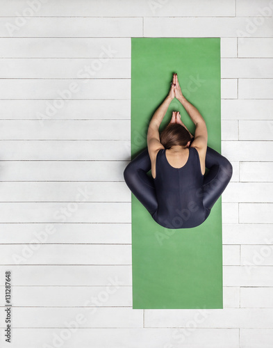 f339568ce552 background  practice of yoga on green carpet and white wooden floor ...