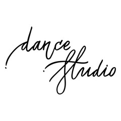 Hand drawn lettering. Dance studio calligraphy. Vector illustration.