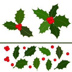 Christmas holly berries icon collection. Hand drawn elements. Vector illustration