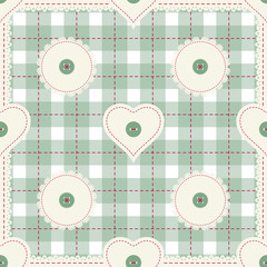 Seamless background for cushion, pillow, bandanna, kerchief, shawl fabric print. Texture for clothes or bedclothes. Vector pattern with hearts for Valentines day. Embroidery stylization