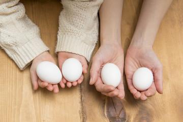 卵を持つ親子の手