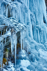 Icicles from a frozen waterfall