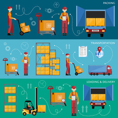 Delivery process infographics. Warehouse management concept flat design vector illustration. Shipment and delivery banners set.