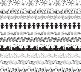 Seamless decorative horizontal ornaments. Can be used as borders and brushes. Winter and christmas theme - snowflakes, snowman, trees, bauble, gift box, sock, roundelay with kids, mittens.