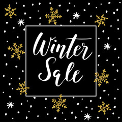 Winter sale background with handwritten text, golden doodle snowflakes and stars. Promotion business concept, vector illustration, lettering.