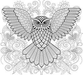Flying owl and floral ornament in zentangle style. Adult antistress coloring page. Black and white hand drawn doodle for coloring book