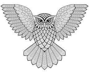 Flying owl in zentangle style. Adult antistress coloring page. Black and white hand drawn doodle for coloring book