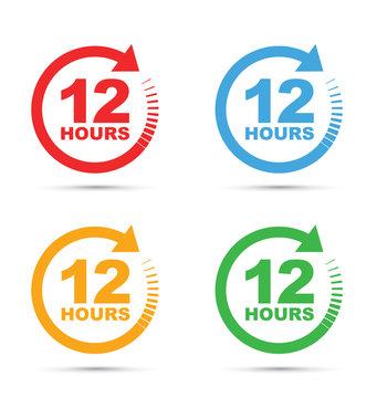 set of four 12 hour icons