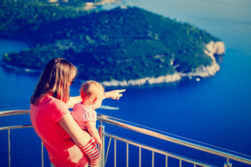 mother and little daughter travel in Europe, Croatia