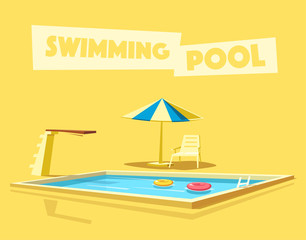 Swimming pool with a diving board. Cartoon Vector illustration