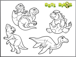 set of cartoon images of little cute dinosaurs