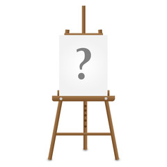 Wooden easel with question mark on white paper