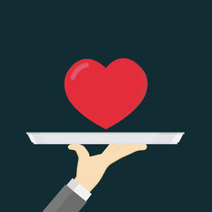 Giving The Red Heart, Hand Holding A Tray with Heart Shape
