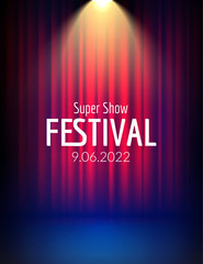 Festival show poster with spotlight. concert event, theater show design. Vector stage curtain. Poster flyer template with Light. Festive illustration