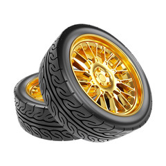 Gold Car Wheels with the Rubber Tires. Clipping Path.  Isolated on White. 3D Illustration