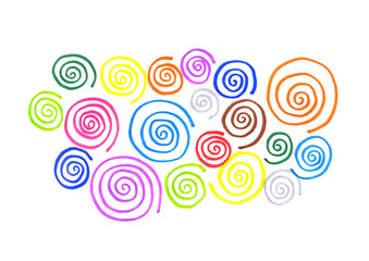 Abstract colorful curl shapes on white