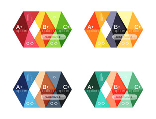 Vector collection of colorful geometric shape infographic banners