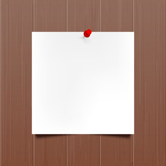 Vector mockup. Sheet of paper with a red push pin hanging on a brown wooden wall. Empty blank. Wood texture with vertical stripes, rustic panels. Hardwood background. Creative interior template.