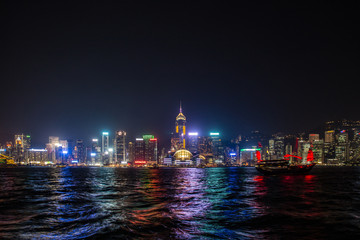 Hong Kong, China skyline panorama from across Victoria Harbor. Hong Kong city skyline view from harbor with skyscrapers buildings reflect in water at sunset