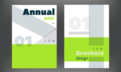 Green Vector brochure cover template. Business annual report design,clean flyer, professional corporate identity.
