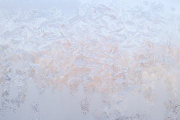 Background of the crystalline texture of ice on the surface of the glass