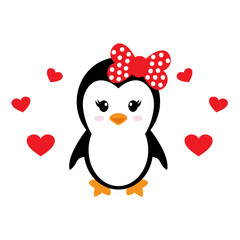 cute penguin girl with heart vector